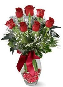 Hakkari çiçekçiler  7 adet kirmizi gül cam vazo yada mika vazoda
