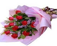 11 adet kirmizi güllerden görsel buket  Hakkari İnternetten çiçek siparişi