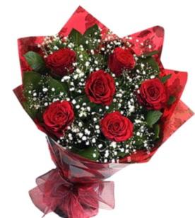 6 adet kırmızı gülden buket  Hakkari güvenli kaliteli hızlı çiçek