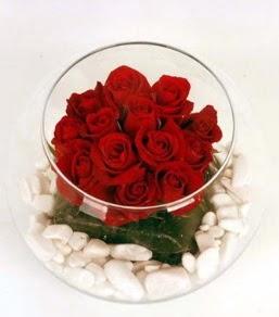 Cam fanusta 11 adet kırmızı gül  Hakkari çiçek yolla