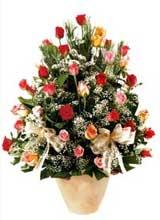 91 adet renkli gül aranjman   Hakkari İnternetten çiçek siparişi