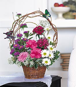 Hakkari cicek , cicekci  sepet içerisinde karanfil gerbera ve kir çiçekleri