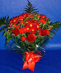 Hakkari ucuz çiçek gönder  3 adet kirmizi gül ve kir çiçekleri buketi