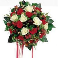 Hakkari çiçek , çiçekçi , çiçekçilik  6 adet kirmizi 6 adet beyaz ve kir çiçekleri buket