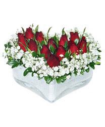 Hakkari çiçekçiler  mika kalp içerisinde 9 adet kirmizi gül