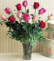 Hakkari çiçek servisi , çiçekçi adresleri  12 adet karisik renkte gül cam yada mika vazoda