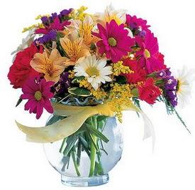 Hakkari çiçek siparişi sitesi  cam yada mika içerisinde karisik mevsim çiçekleri