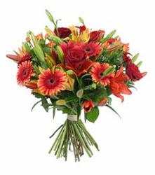 Hakkari çiçek yolla  3 adet kirmizi gül ve karisik kir çiçekleri demeti