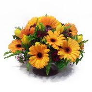 gerbera ve kir çiçek masa aranjmani  Hakkari internetten çiçek siparişi
