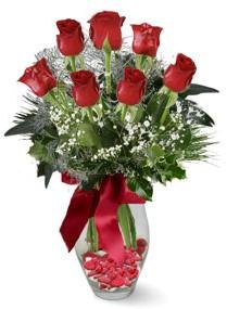 7 adet vazoda gül  Hakkari çiçek siparişi sitesi  kirmizi gül