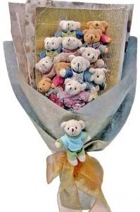 12 adet ayiciktan buket tanzimi  Hakkari online çiçek gönderme sipariş