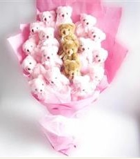 17 adet pelus ayicik buketi  Hakkari çiçek yolla , çiçek gönder , çiçekçi