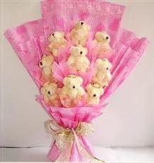 9 adet pelus ayicik buketi  Hakkari 14 şubat sevgililer günü çiçek