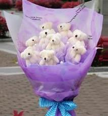 11 adet pelus ayicik buketi  Hakkari çiçek , çiçekçi , çiçekçilik