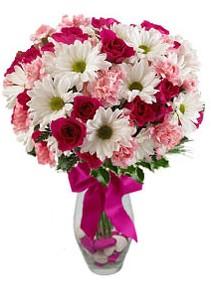 Hakkari çiçekçi mağazası  Karisik mevsim kir çiçegi vazosu