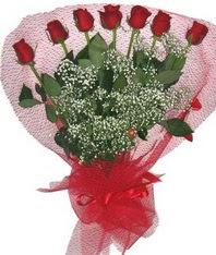 7 adet kipkirmizi gülden görsel buket  Hakkari çiçek servisi , çiçekçi adresleri
