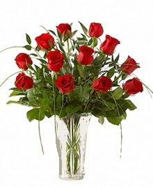 cam yada mika vazo içerisinde 9 kirmizi gül  Hakkari çiçekçi mağazası