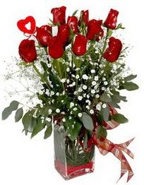 Hakkari internetten çiçek siparişi  9 adet mika yada cam vazoda gül tanzimi kalp çubuk