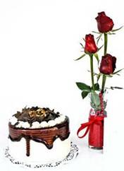 Hakkari internetten çiçek siparişi  vazoda 3 adet kirmizi gül ve yaspasta