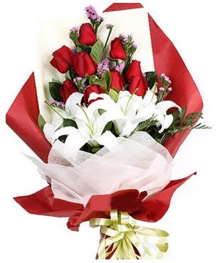 Hakkari internetten çiçek satışı  1 dal kazablankaa 9 adet kırmızı gül buketi