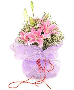 3 dal kazablanka görsel buketi  Hakkari çiçek siparişi sitesi
