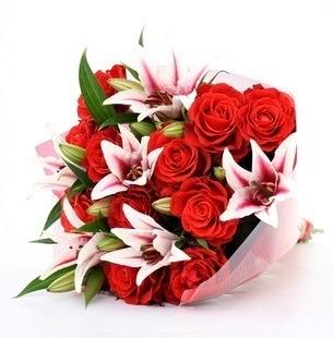 Hakkari internetten çiçek siparişi  3 dal kazablanka ve 11 adet kırmızı gül