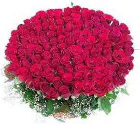 Hakkari yurtiçi ve yurtdışı çiçek siparişi  100 adet kırmızı gülden görsel buket