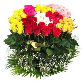 Hakkari çiçek servisi , çiçekçi adresleri  51 adet renkli güllerden aranjman tanzimi