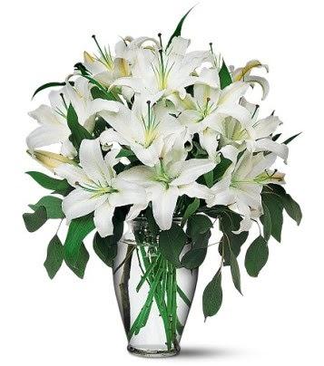 Hakkari çiçek siparişi sitesi  4 dal kazablanka ile görsel vazo tanzimi