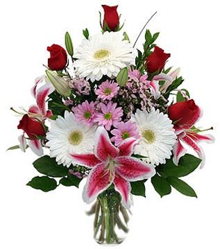 Hakkari çiçek servisi , çiçekçi adresleri  1 dal kazablanka 5 gül ve kırçiçeği vazosu