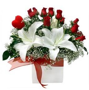 Hakkari hediye çiçek yolla  1 dal kazablanka 11 adet kırmızı gül vazosu