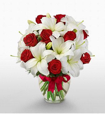 Hakkari ucuz çiçek gönder  1 dal kazablanka 11 adet kırmızı gül vazosu