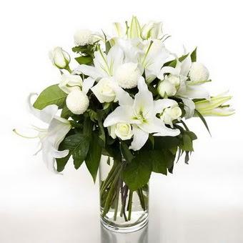 Hakkari İnternetten çiçek siparişi  1 dal cazablanca 7 adet beyaz gül vazosu