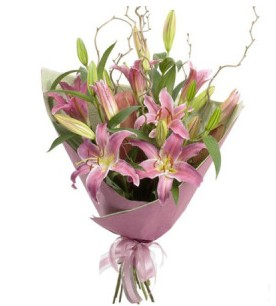 Hakkari çiçek yolla , çiçek gönder , çiçekçi   3 dal cazablanca buket çiçeği