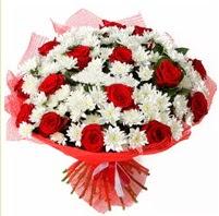 11 adet kırmızı gül ve beyaz kır çiçeği  Hakkari çiçek siparişi sitesi