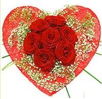 Mika kalp içerisinde 7 adet kırmızı gül  Hakkari hediye çiçek yolla