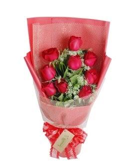 9 adet kırmızı gülden görsel buket  Hakkari çiçek , çiçekçi , çiçekçilik