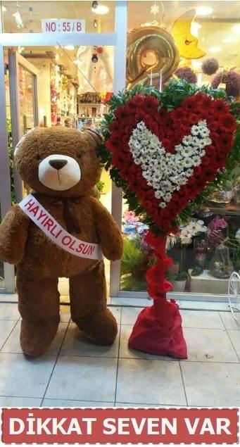 1.5 Metre peluş ayı ve Kalp  Hakkari İnternetten çiçek siparişi