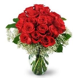 25 adet kırmızı gül cam vazoda  Hakkari çiçek satışı