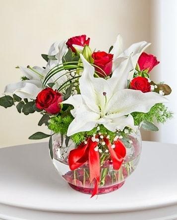 Fanus Vazoda 2 Lilyum ve 5 Gül Dansı  Hakkari çiçek yolla
