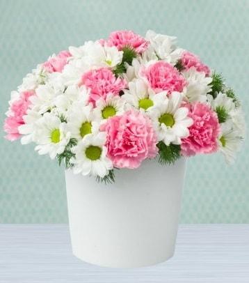 Seramik vazoda papatya ve kır çiçekleri  Hakkari çiçekçi mağazası