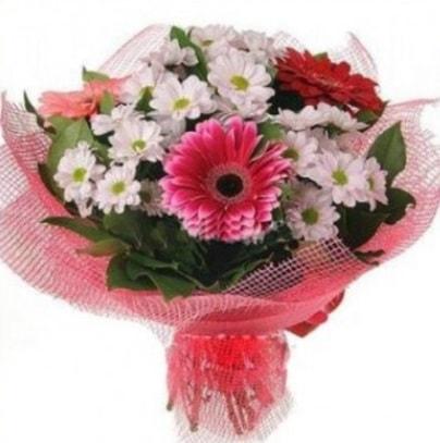 Gerbera ve kır çiçekleri buketi  Hakkari çiçekçiler