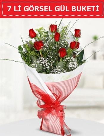 7 adet kırmızı gül buketi Aşk budur  Hakkari çiçekçi telefonları