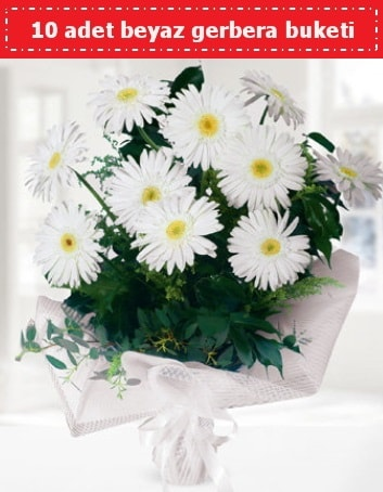 10 Adet beyaz gerbera buketi  Hakkari çiçek satışı