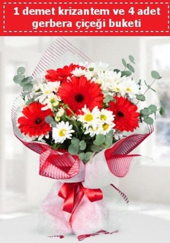Krizantem ve Gerbera Buketi  Hakkari çiçekçi mağazası
